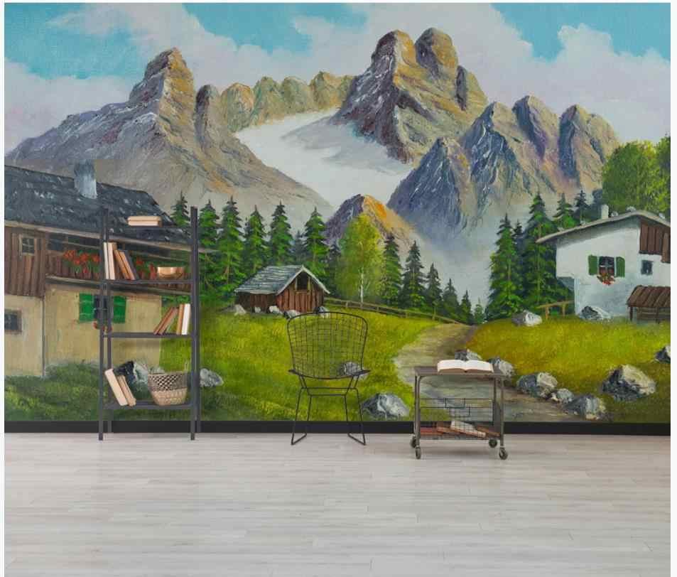 Foto Kustom Wallpaper untuk Dinding 3 D Eropa Minyak Lukisan Lanskap Latar Belakang Dinding Kecil Desa Pastoral Pegunungan Tinggi Dinding