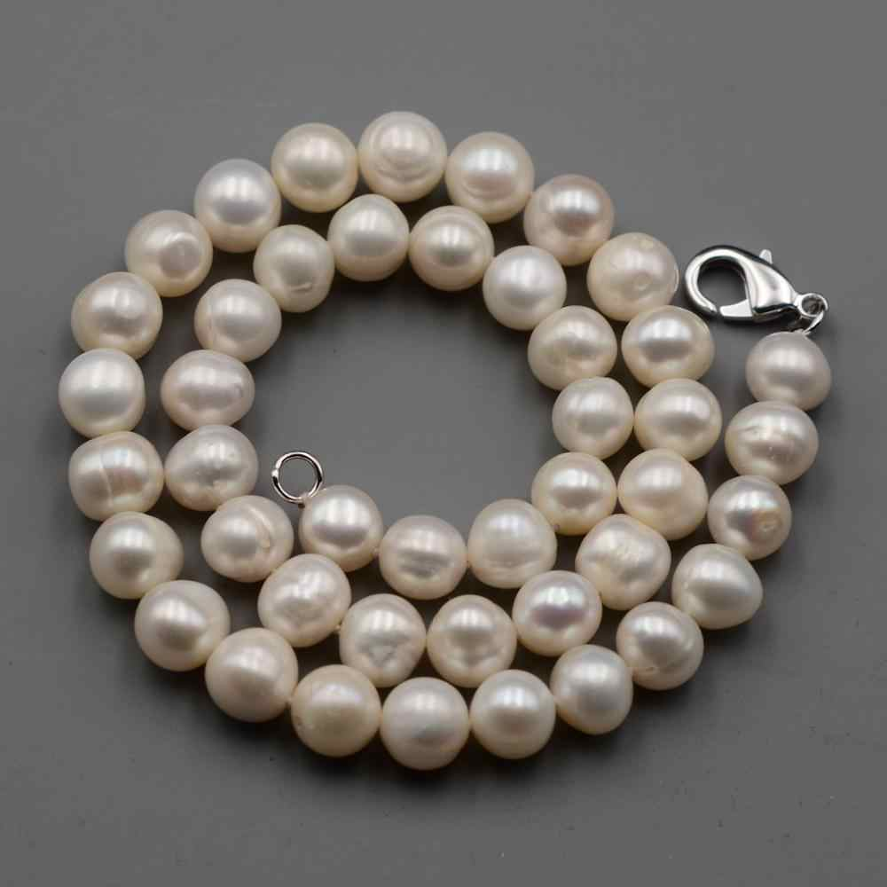 Natural Cultrue 9-10mm Near-round official Freshwater Pearls necklace Beaded strand