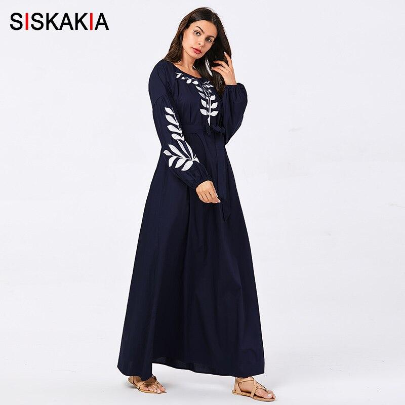 Siskakia mode grande taille broderie longue robe de qualité confortable pleine coton à manches longues robes femmes arabes rue porte - 2