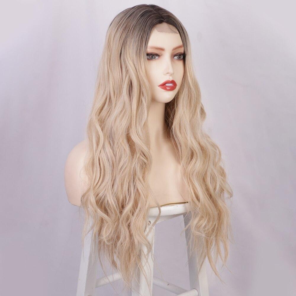 Mel loira longa onda de água peruca