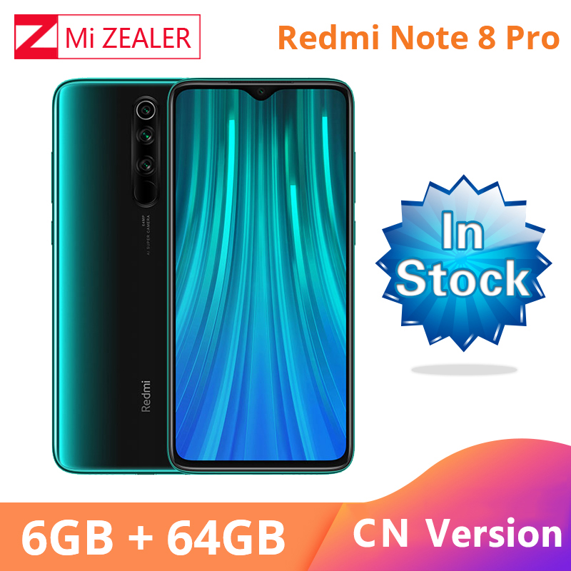 New Original  Xiaomi Redmi Note 8 Pro 6GB RAM 64GB ROM 4500mah Moible Phone 64MP Camera MTK Helio G90T Cellphone