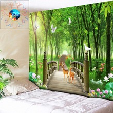 Lotus Pond Forest Wall Hanging Psychedelic Tapestry Covered Bridge  Wall Tapestry Boho Mandala Dorm Decor Large Sheet 200X300CM