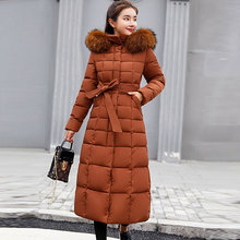 цены Fur Hooded Lace Up Long Cotton Coats Women Casual Solid Thicken Warm Winter Jackets Coats Female Fashion Plus Size Chamarras New