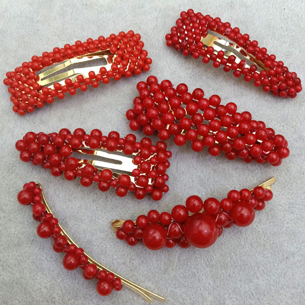 1Pc Fashion Red Pearl Hair Clip for Women Elegant Korean Design Snap Barrette Stick Hairpin Hair Styling Accessories