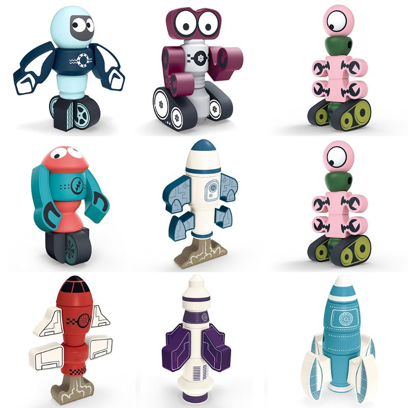 Cute Cartoon Magnetic Robot Building Blocks Rocket Model Puzzle Assembling Educational Toys for Kids Children Gift