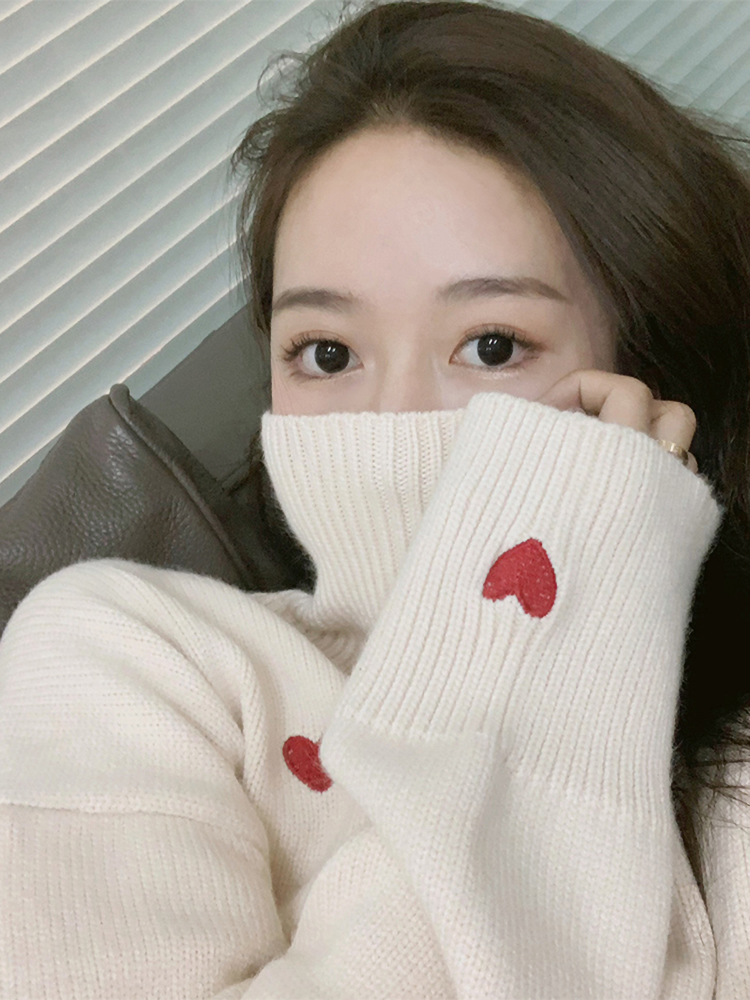 Turtleneck Sweater Net Red Long-Sleeve Loose White Slip Wild Casual