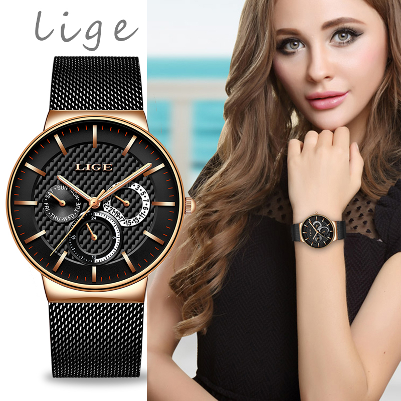 2019 LIGE New Listing Rose Gold Women Watches Quartz Watch Ladies Top Brand Luxury Female Watch Girl Clock Relogio Feminino+Box