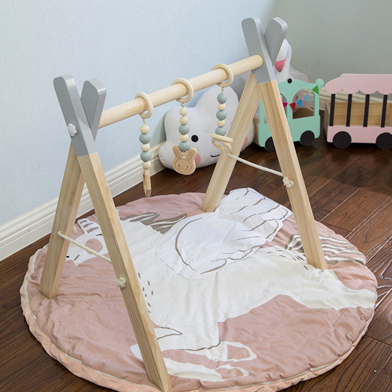 Nordic Style Baby Gym Play Wood Nursery Ring-pull Toy Wooden Gym Beads Toys For Baby Boy Girl Nordic Natural Wooden Gym Play