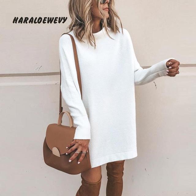 New Turtleneck Solid Knitted Sweaters Dress Women Long Sleeve Slim Streetwear Pullovers Oversized Sweater Pull