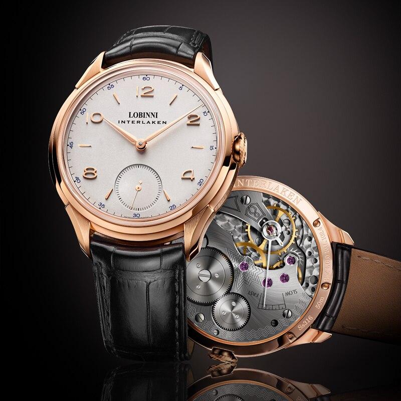 LOBINNI Seagull Mechanical Hand Wind Movement часы механические Relogio Men Wrist Watch Luxury Christmas Gift For Boy