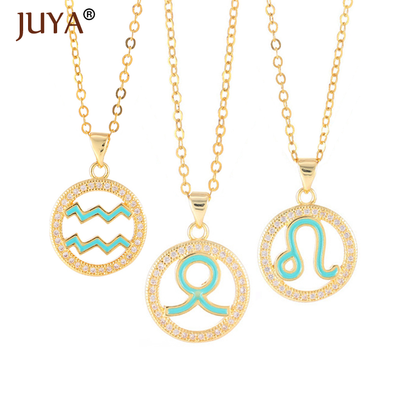 JUYA <font><b>12</b></font> <font><b>Constellation</b></font> <font><b>Necklace</b></font> Cubic Zircon Round Circle Enamel <font><b>Signs</b></font> <font><b>Pendant</b></font> Chain Long <font><b>Necklaces</b></font> Women Jewelry Gift image