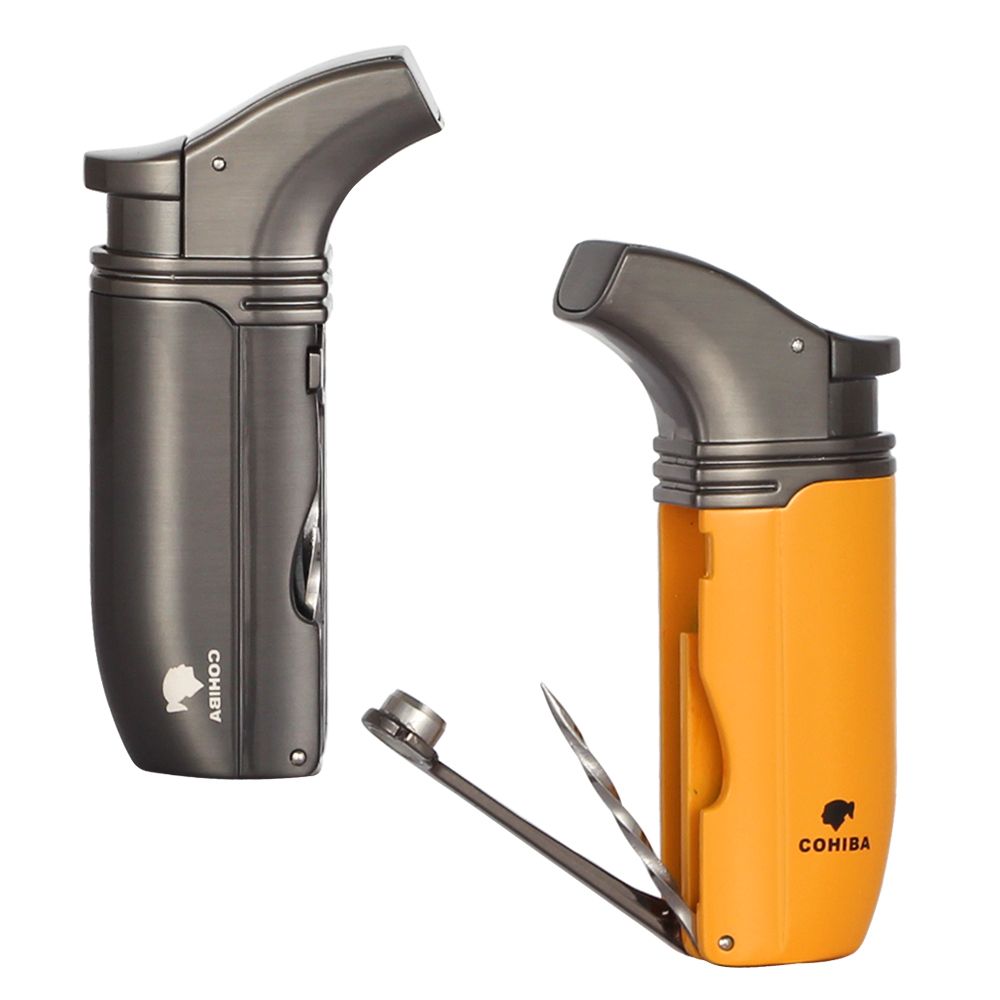 COHIBA Smoking Tool Metal Butane Gas Cigar Lighter 2 Torch Flame Windprood Cigarette Lighters With Built-in Cigar Punch Needle
