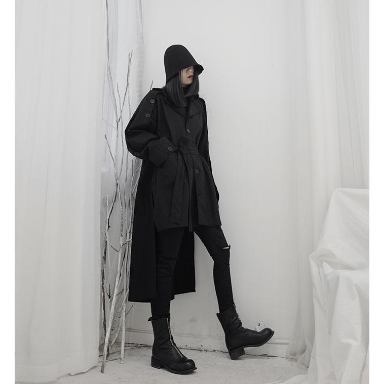 New Fashion Style Black Long Trench Coat With Sash Lone Fashion Nova Clothing
