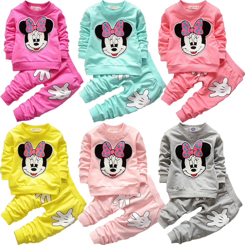 Baby Girls Mickey Minnie Clothing Set Autumn Pure Cotton Clothing Sets For Baby Girls Full Shirt And Pants Children Clothing Set