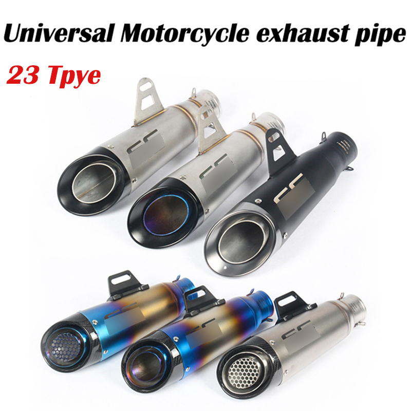 51MM 60mm Universal Modified <font><b>Motorcycle</b></font> racing <font><b>Exhaust</b></font> Muffler for <font><b>SC</b></font> FZ6 YZF R1 R6 R3 MT07 zx6r z800 z900 mt09 project image