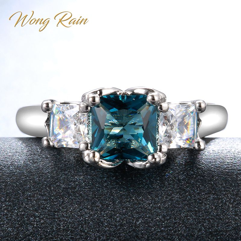 Wong Rain Vintage 100% 925 Sterling Silver Sapphire Topaz Gemstone Wedding Engagement Ring Fine Jewelry Wholesale Drop Shipping