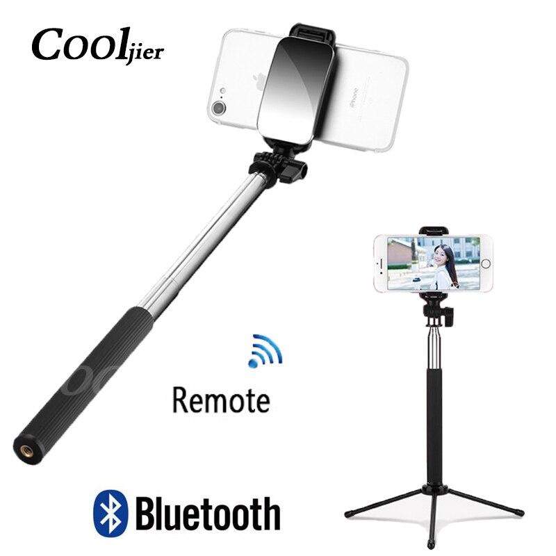 COOLJIER 2019 Neueste Drahtlose Fernbedienung Bluetooth Selfie Stick mit Mini Stativ und spiegel Für iPhone Samsung Huawei Android