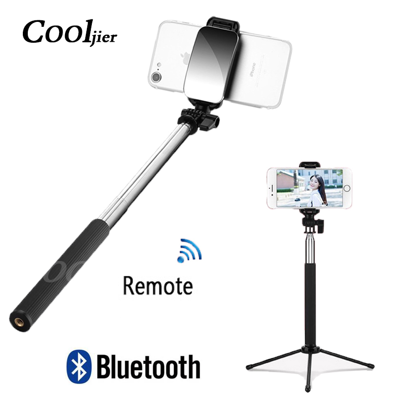 COOLJIER 2019 Newest Wireless Remote Bluetooth Selfie Stick With Mini Tripod And Mirror For IPhone Samsung Huawei Android