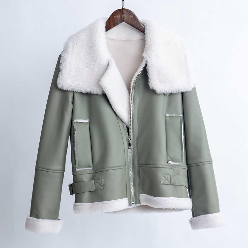 Echte motorrad schaffell leder jacke echtpelz mantel plus größe schafschur mantel frauen tops und blusen 2019 neue mode