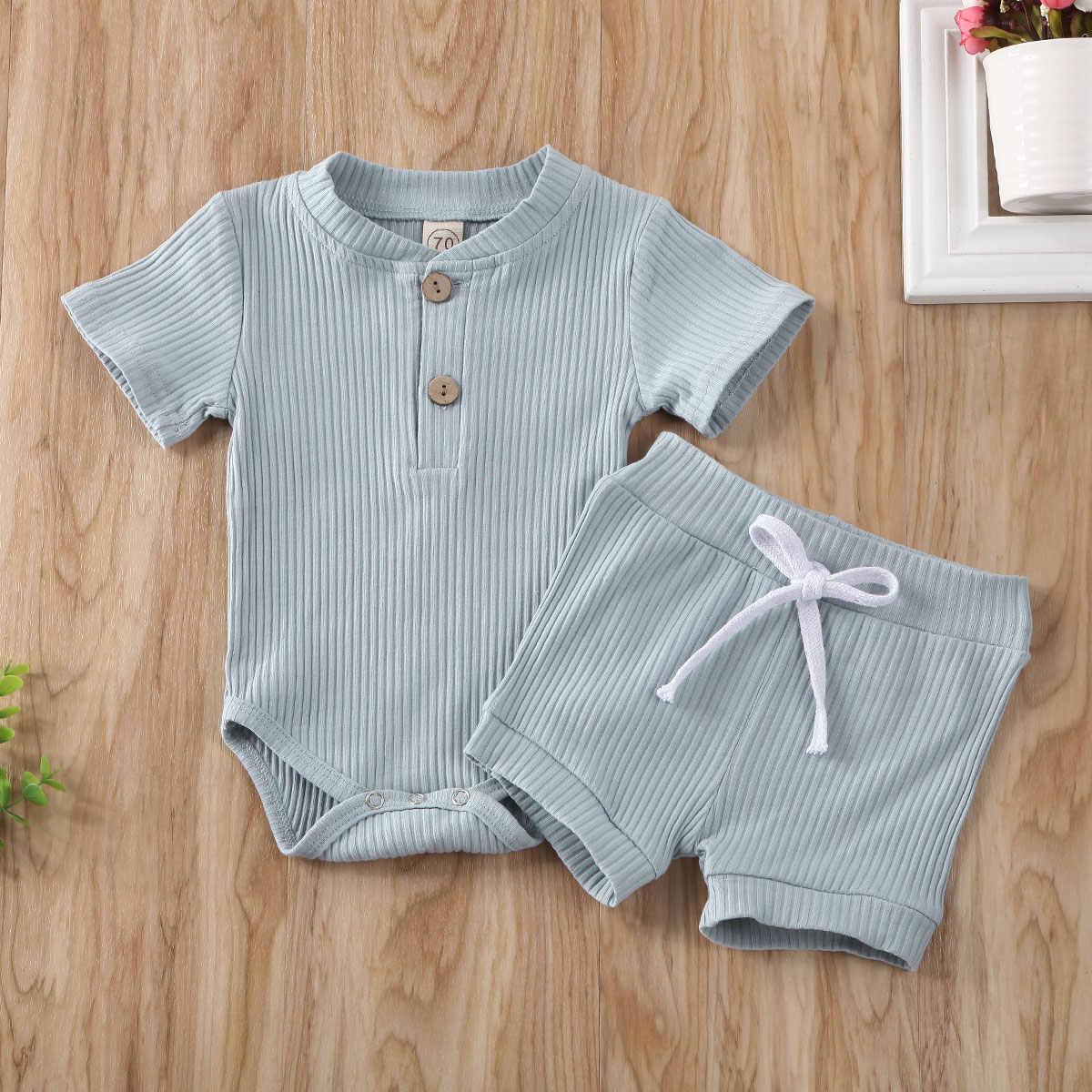 0-24Months kurzarm Bodys + Shorts 2 stücke Set für Neue geboren infant baby mädchen Jungen unisex kleidung einfarbig casual outfits