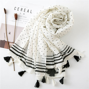 Women cotton Scarf bohemia dot Print Hijab Shawls and Wraps Long Tassel Female Foulard 2020 New Designer Bandana Pashmina - discount item  30% OFF Scarves & Wraps
