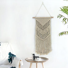 2019 New Hand Crafts Hanging Throw Blankets Macrame Woven Wall Hanging Boho Chic Bohemian Room Geometric Tapestry Living Room De(China)