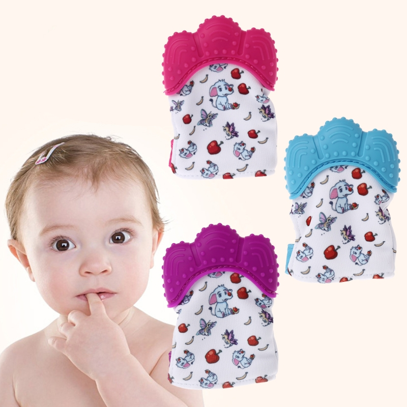 Baby Teether Pacifier Elephant Gloves Teething Nursing Silicone Chew Finger Bead QX2D