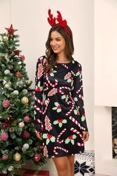 Winter Christmas Dresses Women Print Cartoon Dress Long Sleeve Casual Plus Size Midi Party Dresses Vestidos Robe 6