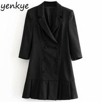 Fashion Women Pleated Blazer Style Mini Dress Lady Notched Collar Double breasted Work Wear Vintage Black Elegant Office Dress