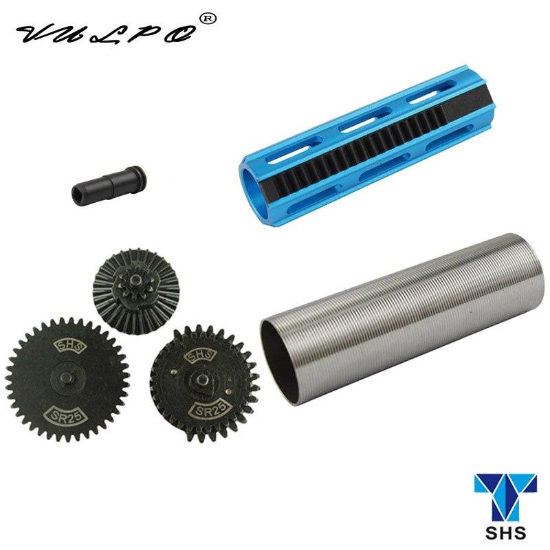 VULPO Set SHS CNC Aluminum 19 Teeth Piston Stainless Steel Cylinder SR25 Gear Set SR25 Nozzle For SR25 Airsoft AEG