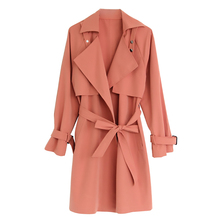 Fashion Turn-down Collar Trench-coat Women Autumn New 3-color Long-sleeved Casual Solid Long-coat Office Lady Slim Windbreaker autumn summer new women shirt dress long sleeved female dresses slim fashion party office lady sundress plus size casual rob