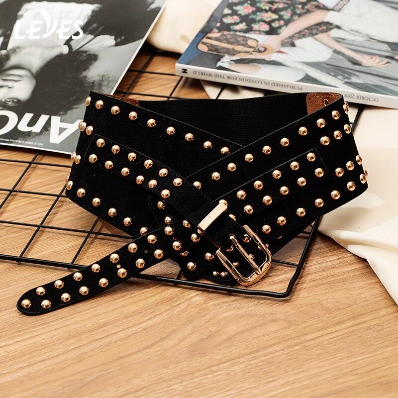 Fashion Leather Belts For Women Punk Style Femal Model Elastic Belt Wide Buckle Designer Brand Dress Ladies Retro Belt Girls Hot