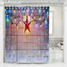 цена на Christmas Shower Curtain 3D Neon Wood Grain Star Decoration Bath Shower Curtains Bathroom Curtain Waterproof Fabric 8 Size