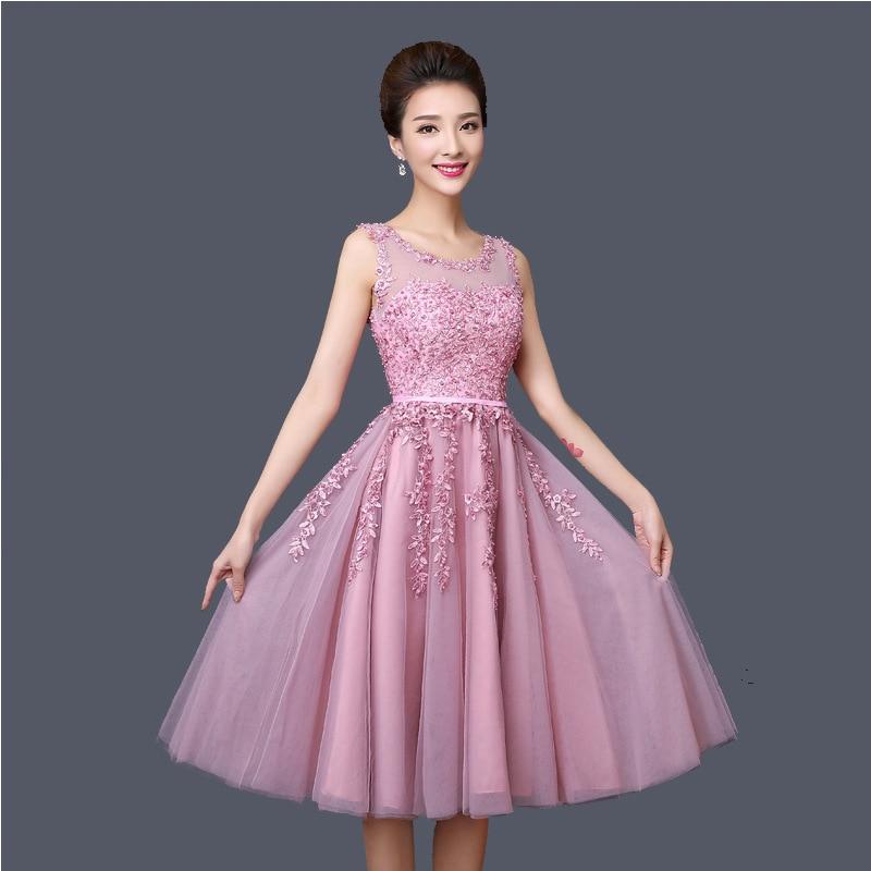 Women's Host Dress 2019 New Style Mid-length Pink Evening Gown Banquet Shoulder Graduation Dress