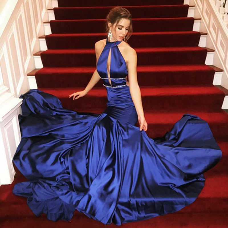 Royal Blue Sexy Prom Dresses Mermaid High Neck Evening Dress Long Gown Backless Party Dresses Sweep Train Robe De Soiree