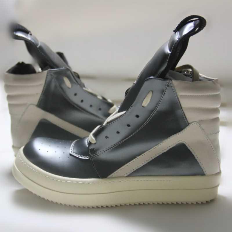 รองเท้าผู้ชายข้อเท้า Luxury Trainers หนาแพลตฟอร์มวัวหนัง Lace Up รองเท้าผ้าใบลำลองซิปรองเท้าคนรักรองเท้า TOP TOP ขนาดใหญ่