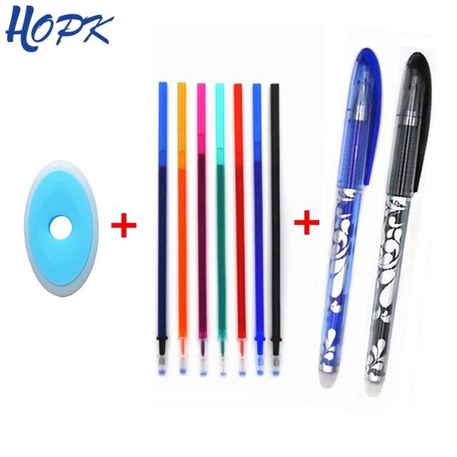 Stylo effaçable ensemble 0.5mm bleu noir couleur encre stylos à bille poignée lavable pour école bureau papeterie fournitures examen de rechange