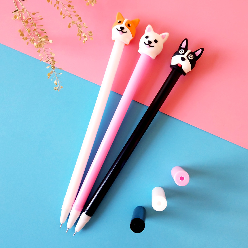 0 5mm black water pen students sign pen creative stationery cute cartoon little cute dog neutral pen