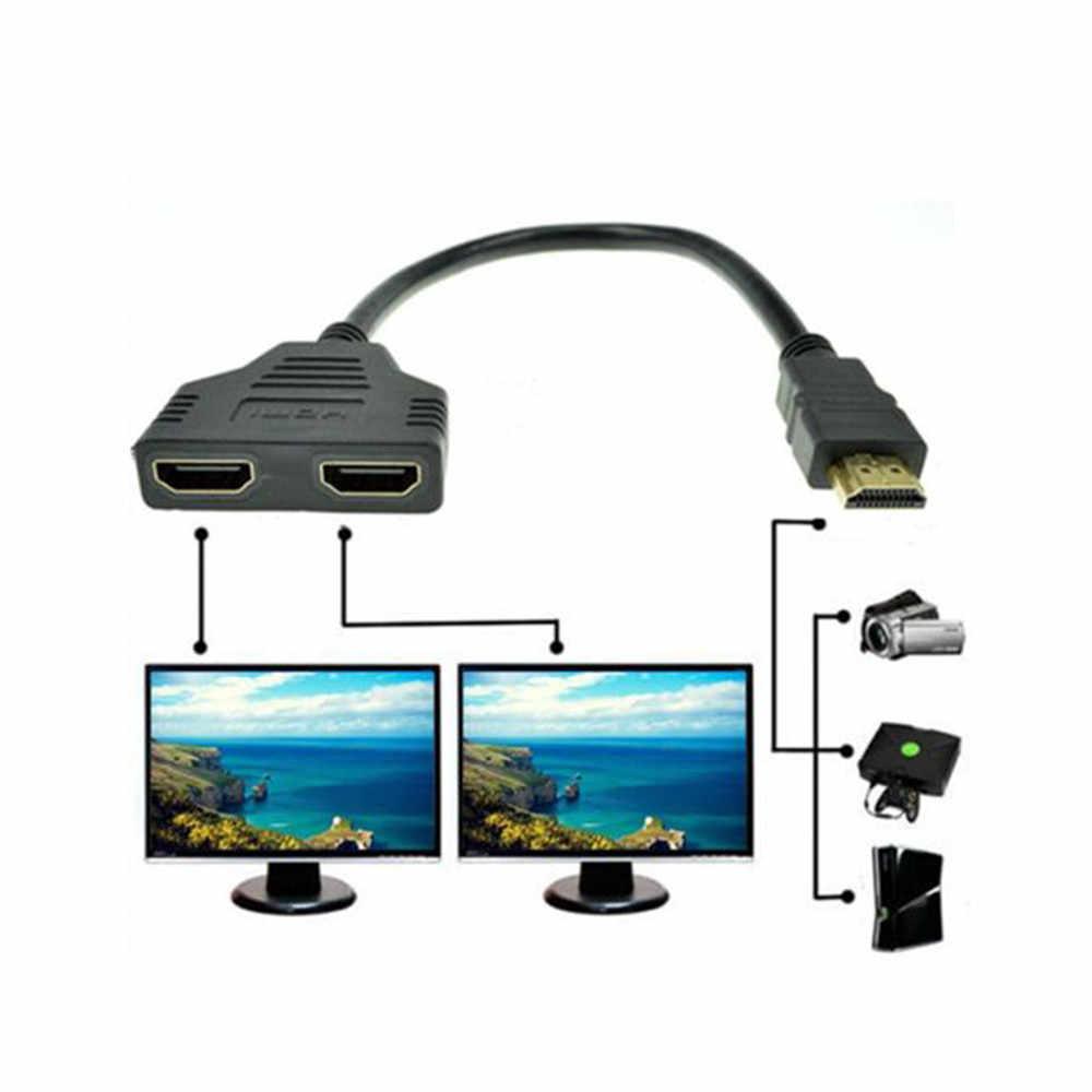 2 kadın 1 2 FSU HDMI kablo video kabloları altın kaplama 1080P 3D kablosu HDTV splitter switcher splitter kablo adaptörü dönüştürücü