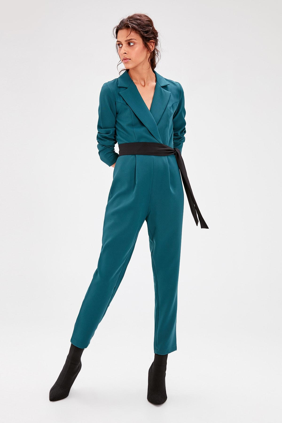 Trendyol Duck Head Yeşili Belted Jumpsuit TWOAW20TU0015