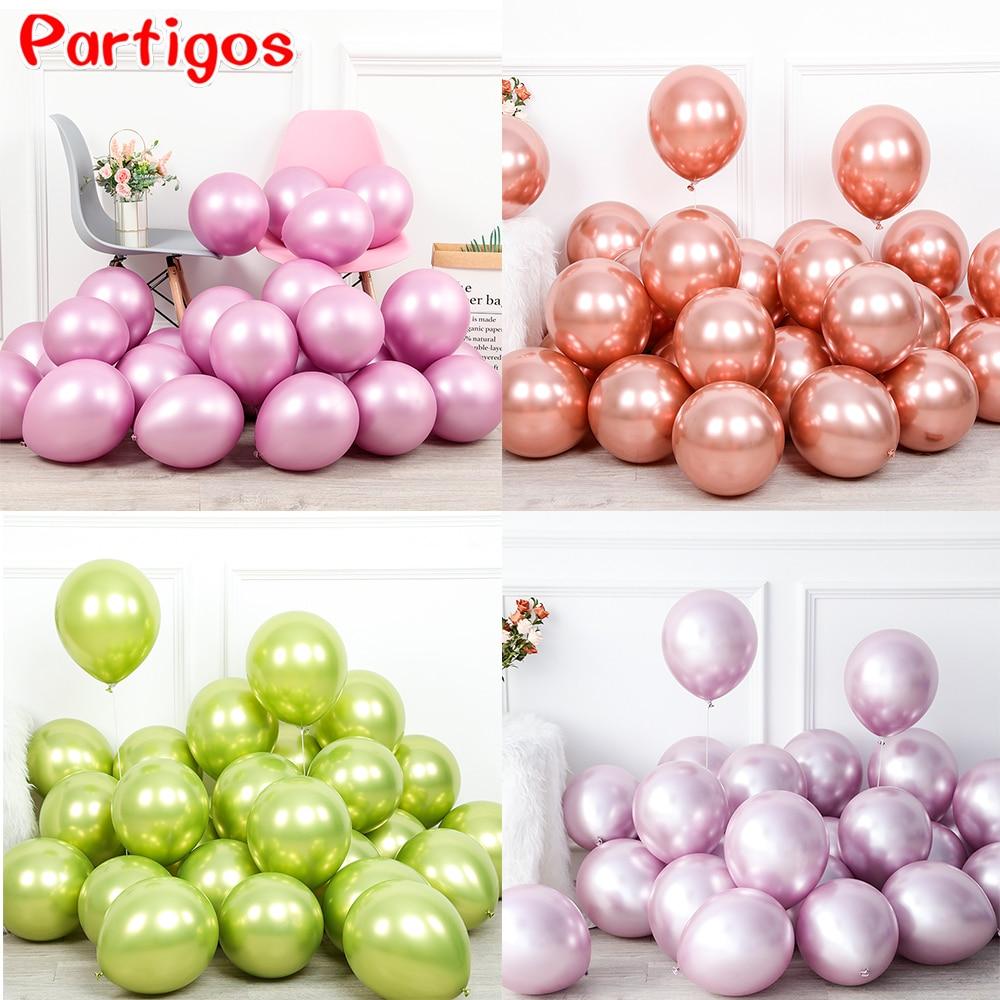 20pcs/set 12inch New Glossy baby pink Metal Pearl Latex Balloons Thick Chrome Metallic Inflatable Air Balls Globos