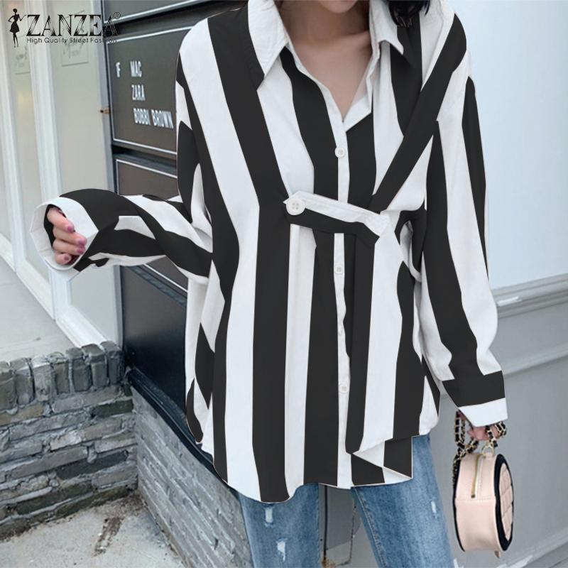 ZANZEA 2020 Fashion Women Striped Shirts Elegant Lapel Office Lady Buttons Down Tunic Tops Work Chic OL Blusas Plus Size 5XL 7
