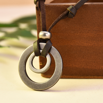 2019 Boho Vintage Men Women Double Circle Adjustable Leather Cord Necklace Pendant Jewelry Christmas Gift Initial Necklace