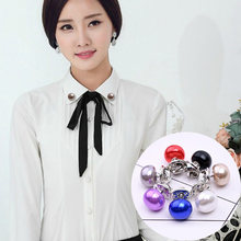 Hot Sell Classic Elegant Woman Jewelry Korea Imitation Pearl Collar Cardigan Shawl Buckle DIY Scarf Brooch Pins(China)