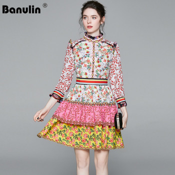 Banulin Fashion Designer Runway Dress Spring Summer Women Stand collar long Sleeve Ruffles Floral Print Holiday Dresses