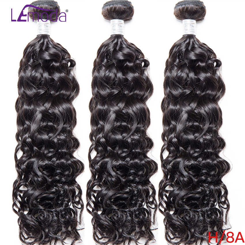 40Inch LeModa Brazilian Water Wave Human Hair Weave Bundles Remy Hair Extensions 3 Bundles Deal Natural Black 10-40inch