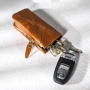 Image 2 - AETOO miedziana klamra skórzany na klucze torba, męski zamek torba na klucze samochodowe, łuszczyca wielofunkcyjny talia padkey futerał na klucze kobieta