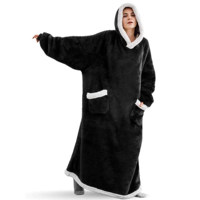 Super Long Flannel Blanket with Sleeves Winter Hoodies Sweatshirt Women Men Pullover Fleece Giant TV Blanket Oversized WF032 3