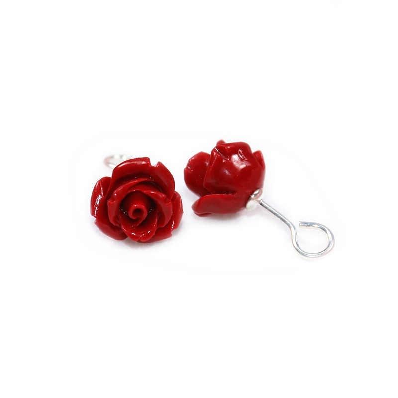 חם חדש 2019 מלאכותי אלמוגים אבן stud עגילים עם ורדים סטרלינג-כסף-תכשיטי משלוח לשלוח תיבת תכשיטי יוקרה