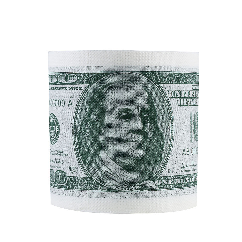 1 Roll 2 Ply Tissue Bathroom Supplies Joke Gag Jag 100 Dollar Money Printed WC Bath Funny Toilet Paper Gift